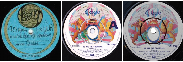 We Are The Champions UK: acetate, demo version and commercial release