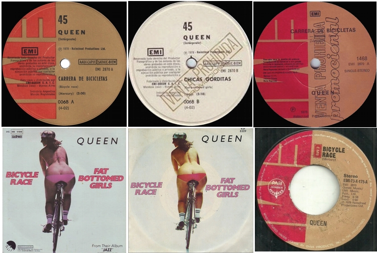 Bicycle Race / Fat Bottomed Girls ARGENTINA: commercial release and promo, CHILE: promo, BRAZIL, MEXICO, PHILIPPINES